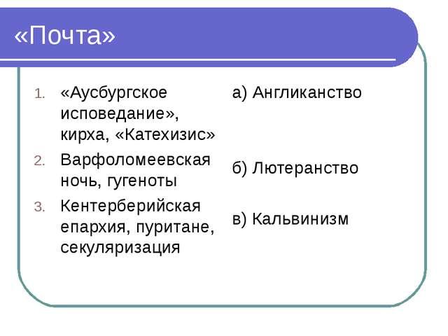 «Почта» «Аусбургское исповедание», кирха, «Катехизис» Варфоломеевская ночь, г...