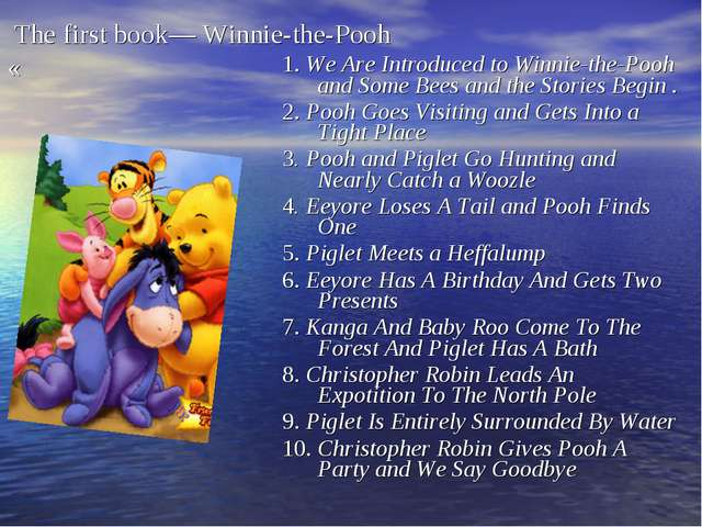 The first book— Winnie-the-Pooh « 1. We Are Introduced to Winnie-the-Pooh an...