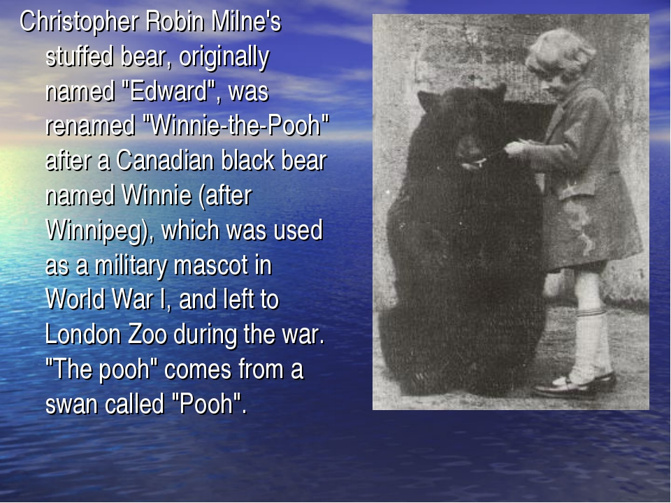 "Christopher Robin Milne's stuffed bear, originally named ""Edward"", was rename..."