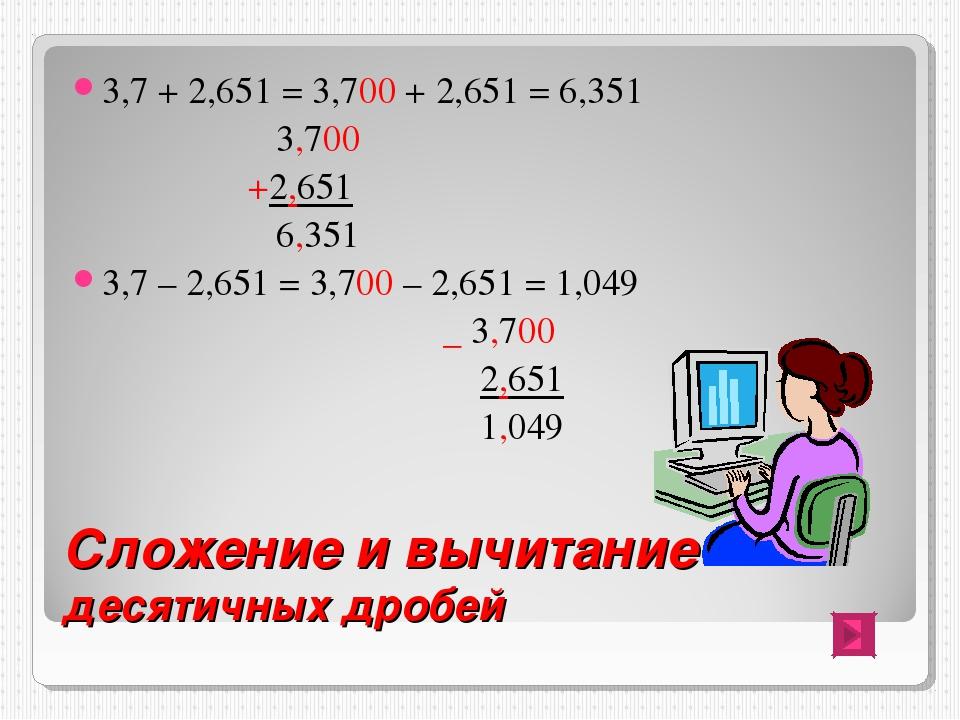 Сложение и вычитание десятичных дробей 3,7 + 2,651 = 3,700 + 2,651 = 6,351 3,...