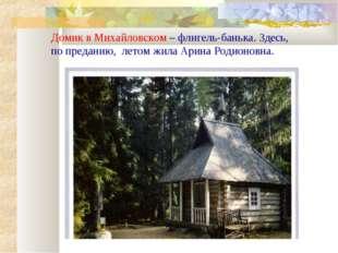 Домик в Михайловском – флигель-банька. Здесь, по преданию, летом жила Арина Р