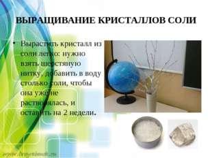 ВЫРАЩИВАНИЕ КРИСТАЛЛОВ СОЛИ Вырастить кристалл из соли легко: нужно взять шер