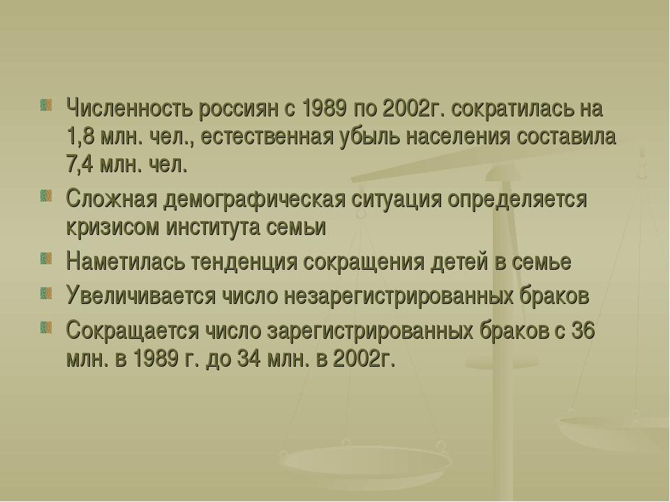 Численность россиян с 1989 по 2002г. сократилась на 1,8 млн. чел., естественн...