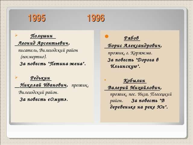 1995 1996 Полушин Леонид Арсентьевич, писатель, Вилегодский район (посмертно...