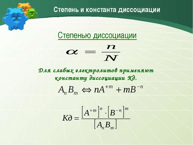 Степень и константа диссоциации Степенью диссоциации Для слабых электролитов...