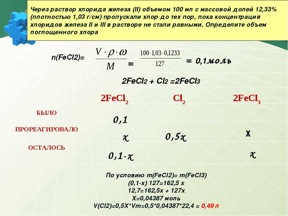 Через раствор хлорида железа (II) объемом 100 мл с массовой долей 12,33% (пло...