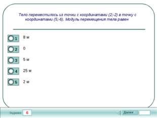 6 Задание Тело переместилось из точки с координатами (2;-2) в точку с координ