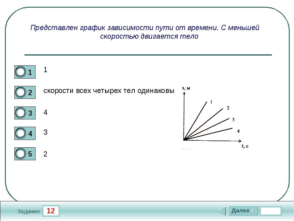 12 Задание Представлен график зависимости пути от времени. С меньшей скорость...