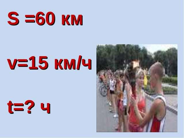 S =60 км v=15 км/ч t=? ч
