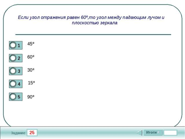 25 Задание Если угол отражения равен 60º,то угол между падающим лучом и плоск...
