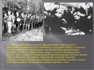 С первых дней войны началось формирование партизанского движения. Специально