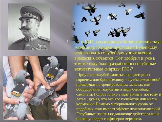 . А в 1941 года кандидат биологических наук Александр Колосов предложил Буден...