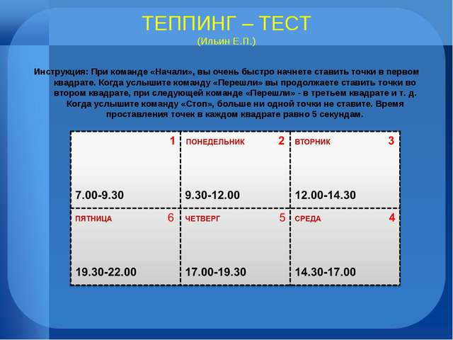 ТЕППИНГ – ТЕСТ (Ильин Е.П.) Инструкция: При команде «Начали», вы очень быстро...