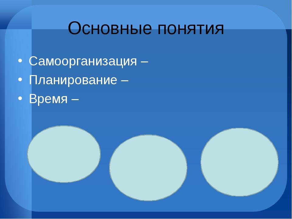 Основные понятия Самоорганизация – Планирование – Время –