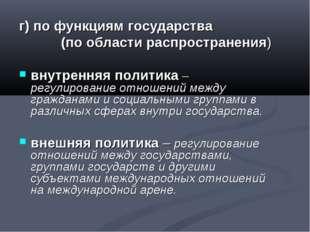 г) по функциям государства (по области распространения) внутренняя политика –