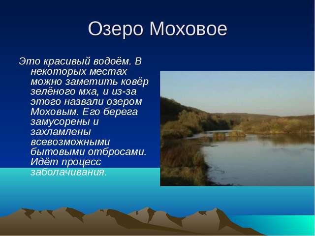 Озеро Моховое Это красивый водоём. В некоторых местах можно заметить ковёр зе...