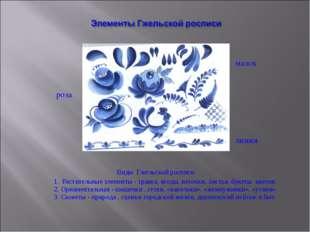 Виды Гжельской росписи 1. Растительные элементы - травка, ягоды, веточки, ли