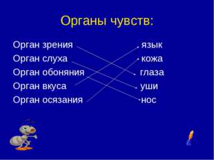 Органы чувств: Орган зрения язык Орган слуха кожа Орган обоняния глаза Орган