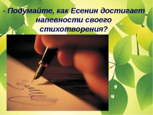 - Подумайте, как Есенин достигает напевности своего стихотворения?