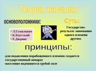 Л.Гумплович К.Каутский Е.Дюринг -для подавления порабощенного племени создае