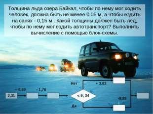 Толщина льда озера Байкал, чтобы по нему мог ходить человек, должна быть не м