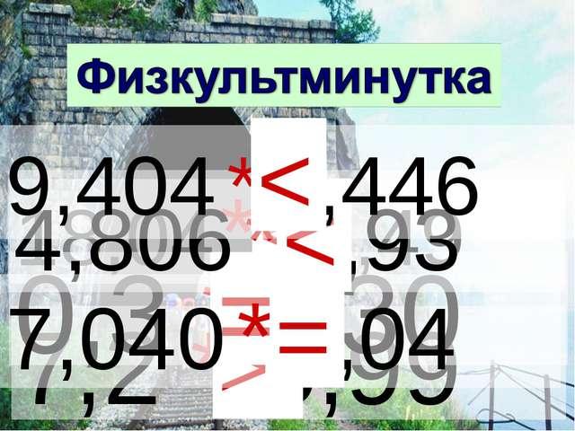7,2 * 5,99 > 18,04 * 18,49 < 0,3 *0,30 = 4,806 * 5,93 < 9,404 * 9,446 < 7,040...