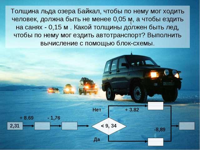 Толщина льда озера Байкал, чтобы по нему мог ходить человек, должна быть не м...