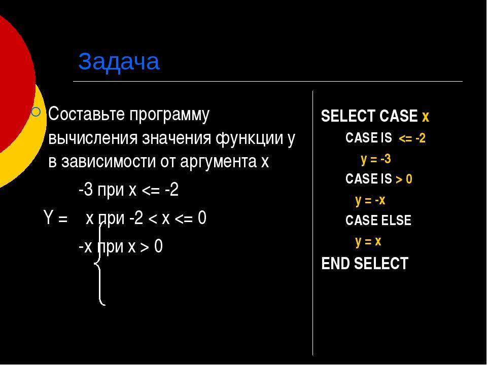 Задача Составьте программу вычисления значения функции у в зависимости от арг...