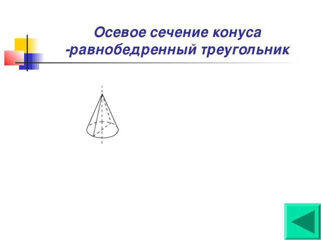 Осевое сечение конуса -равнобедренный треугольник