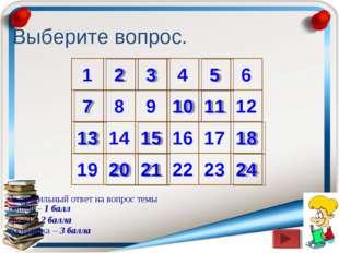 Выберите вопрос. 1 2 3 4 5 6 11 7 9 8 10 12 13 14 18 17 16 15 19 20 21 24 22