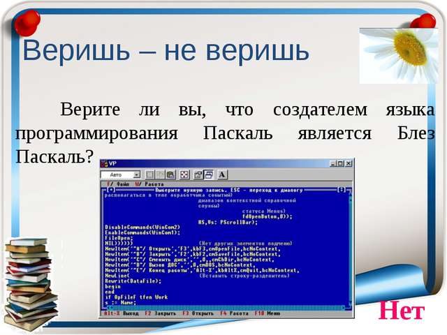 Веришь – не веришь Верите ли вы, что создателем языка программирования Паска...