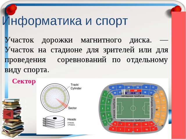 Информатика и спорт Участок дорожки магнитного диска. — Участок на стадионе д...