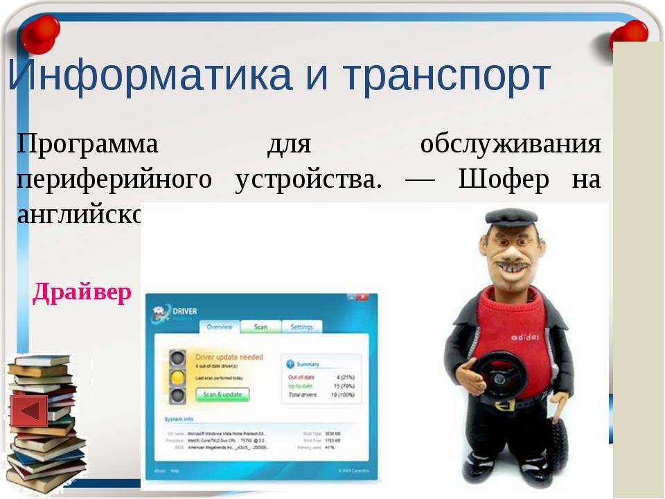 Информатика и транспорт Программа для обслуживания периферийного устройства....