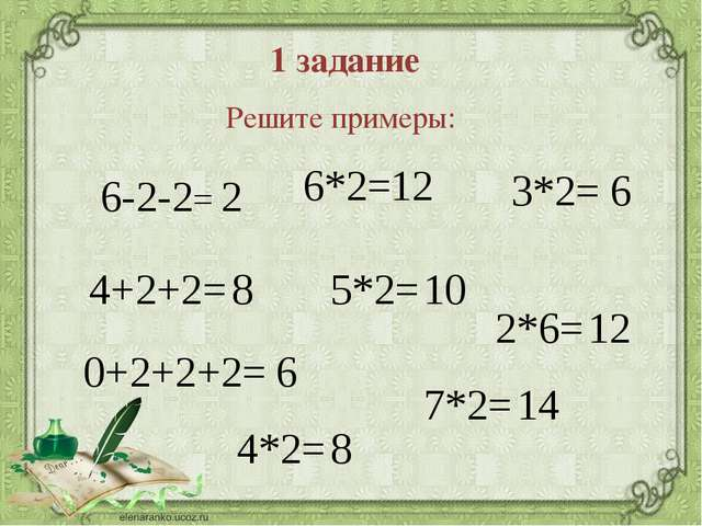 1 задание Решите примеры: 6-2-2= 4+2+2= 0+2+2+2= 6*2= 2*6= 7*2= 3*2= 5*2= 4*2...