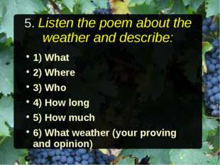 5. Listen the poem about the weather and describe: 1) What 2) Where 3) Who 4)