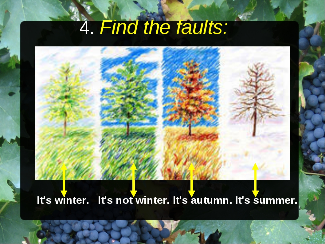 4. Find the faults: It's winter. It's not winter. It's autumn. It's summer.