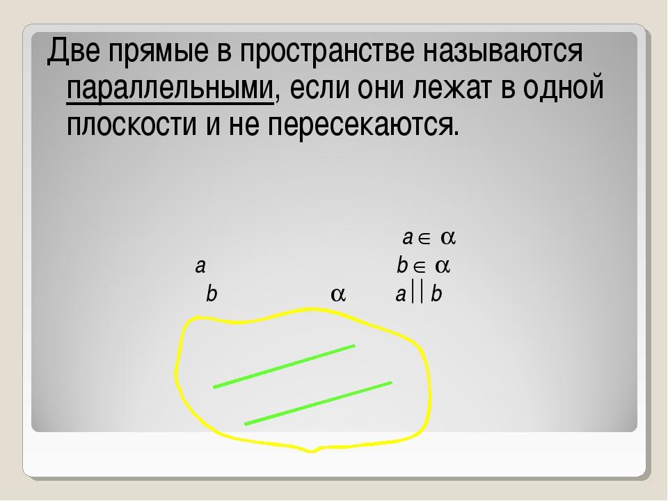Две прямые в пространстве называются параллельными, если они лежат в одной пл...