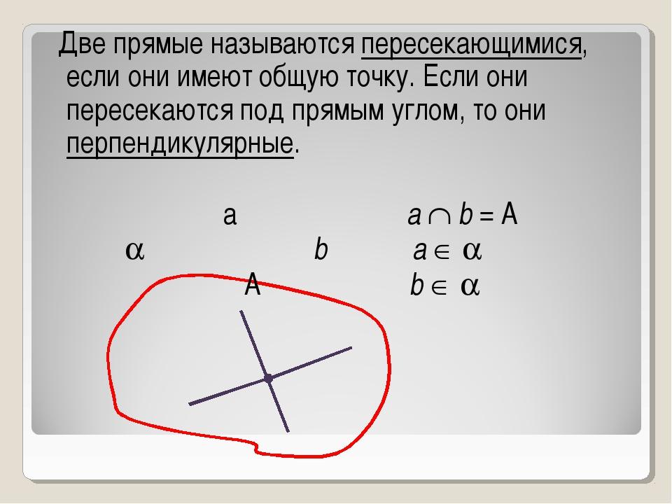 Две прямые называются пересекающимися, если они имеют общую точку. Если они...