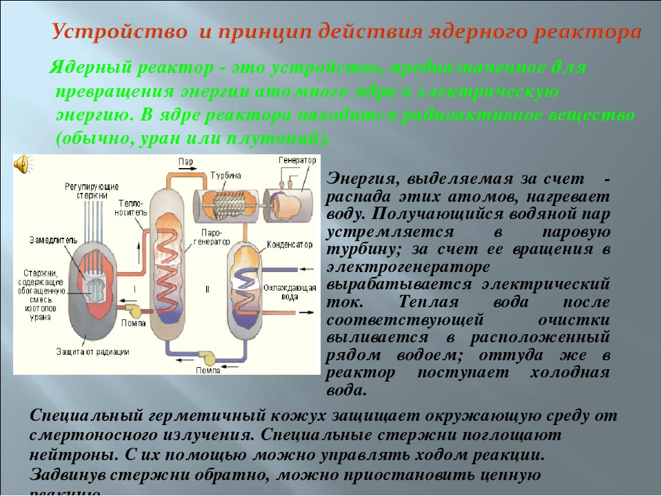 Ядерный реактор - это устройство, предназначенное для превращения энергии ат...