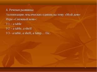 4. Речевая разминка Активизация лексических единиц на тему «Мой дом» Игра «Сн