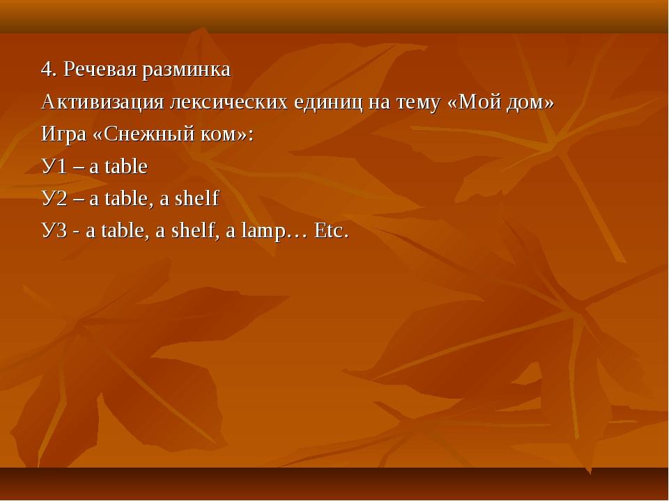 4. Речевая разминка Активизация лексических единиц на тему «Мой дом» Игра «Сн...