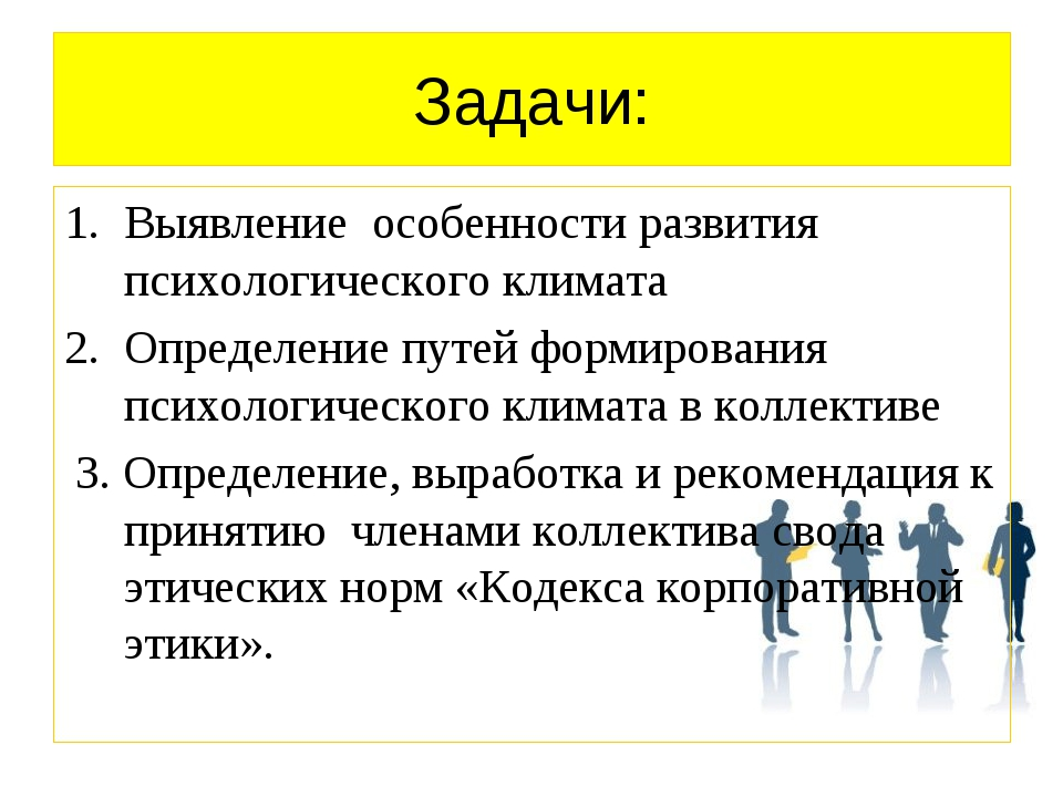 Задачи: Выявление особенности развития психологического климата Определение п...