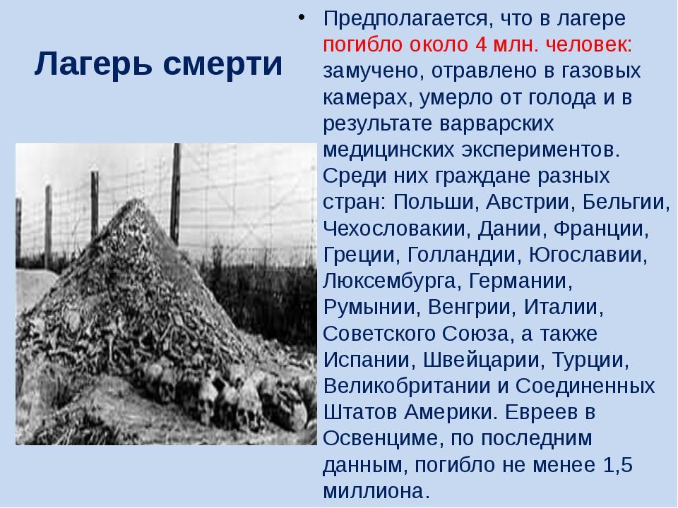 Лагерь смерти Предполагается, что в лагере погибло около 4 млн. человек: заму...