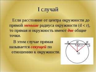 I случай Если расстояние от центра окружности до прямой меньше радиуса окружн
