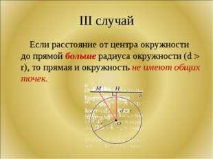 III случай Если расстояние от центра окружности до прямой больше радиуса окру
