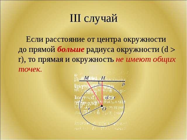 III случай Если расстояние от центра окружности до прямой больше радиуса окру...
