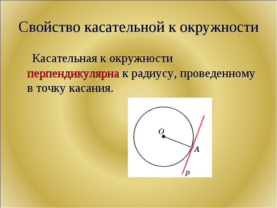 Свойство касательной к окружности Касательная к окружности перпендикулярна к...