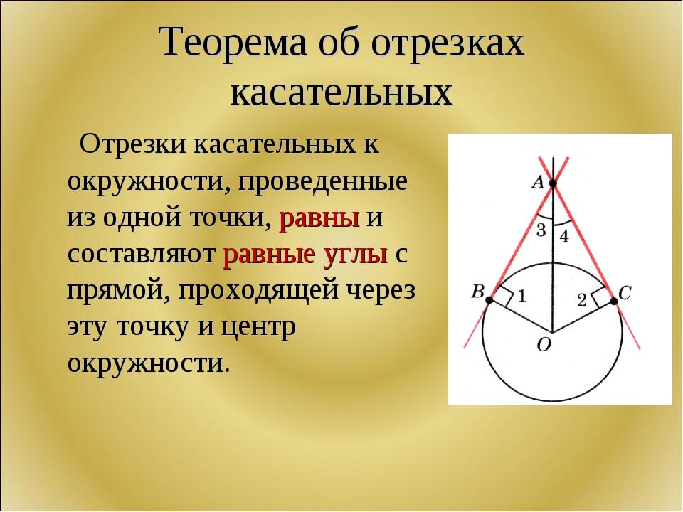 Теорема об отрезках касательных Отрезки касательных к окружности, проведенные...
