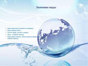 Значение воды Вода уникальна и ничем не заменима. Вода универсальна. Где нет