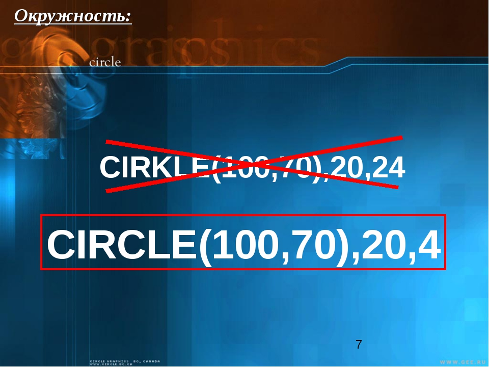CIRKLE(100,70),20,24 CIRCLE(100,70),20,4 Окружность:
